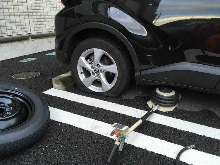 C-HRのタイヤパンク